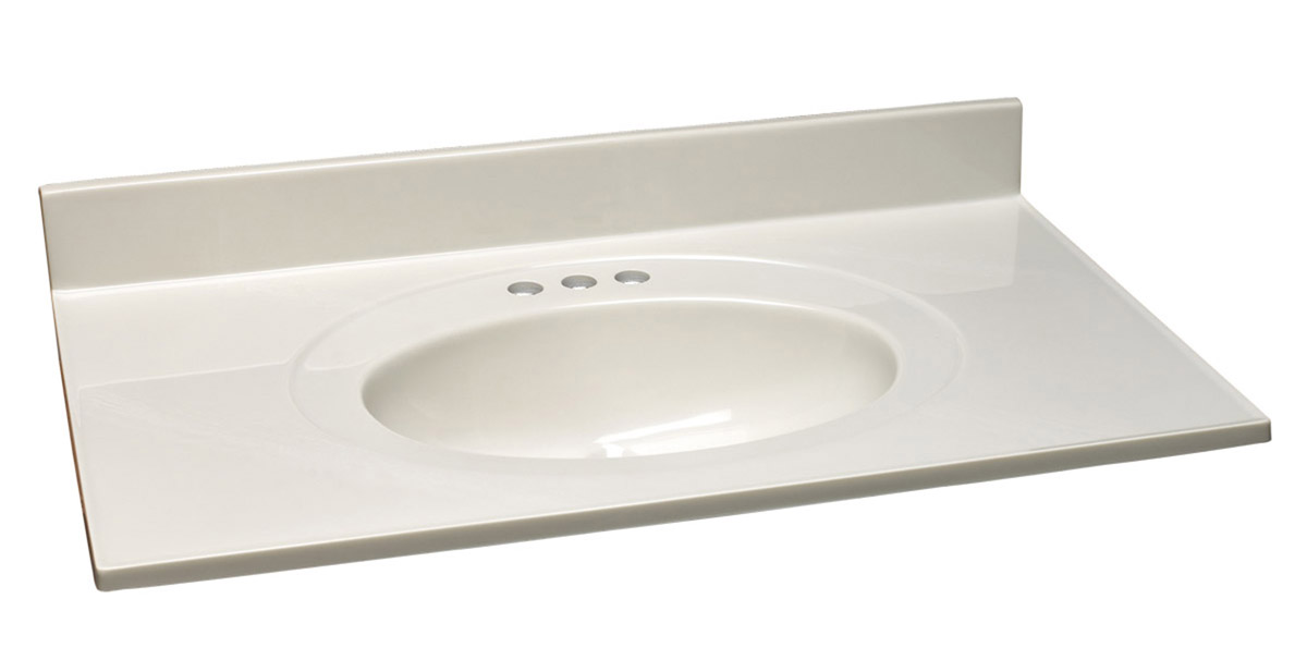 """Design House 551952 Cultured Marble Vanity Top 43"""", White on White"""