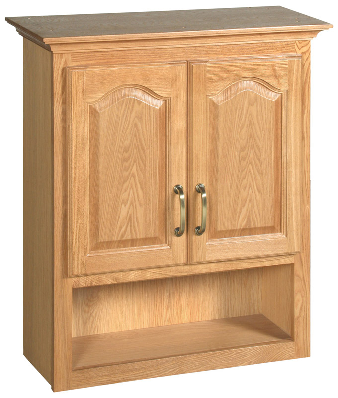 Richland Nutmeg Oak Bathroom Wall Cabinet with 2-Doors, 26.7-Inches by 30-Inches