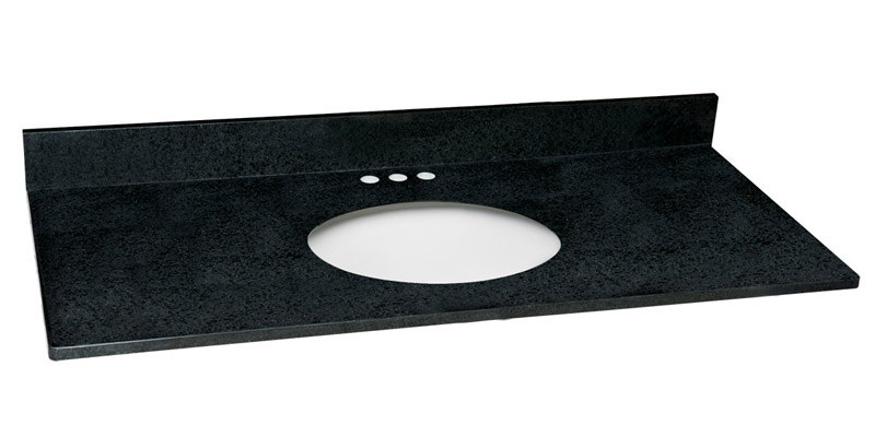 Single Bowl Granite Vanity Top, 49-Inch by 22-Inch, Black Pearl