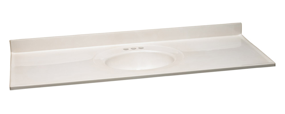 Single Bowl Cultured Marble Vanity Top, 61-Inches by 22-Inches, White