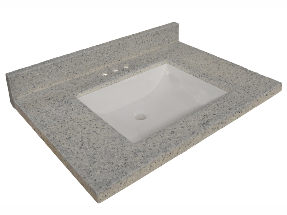 Design House 557546 Wave Bowl Premium Granite Vanity Top with 4-Inch Backsplash, 25-inches by 22-inches, Moonscape Grey