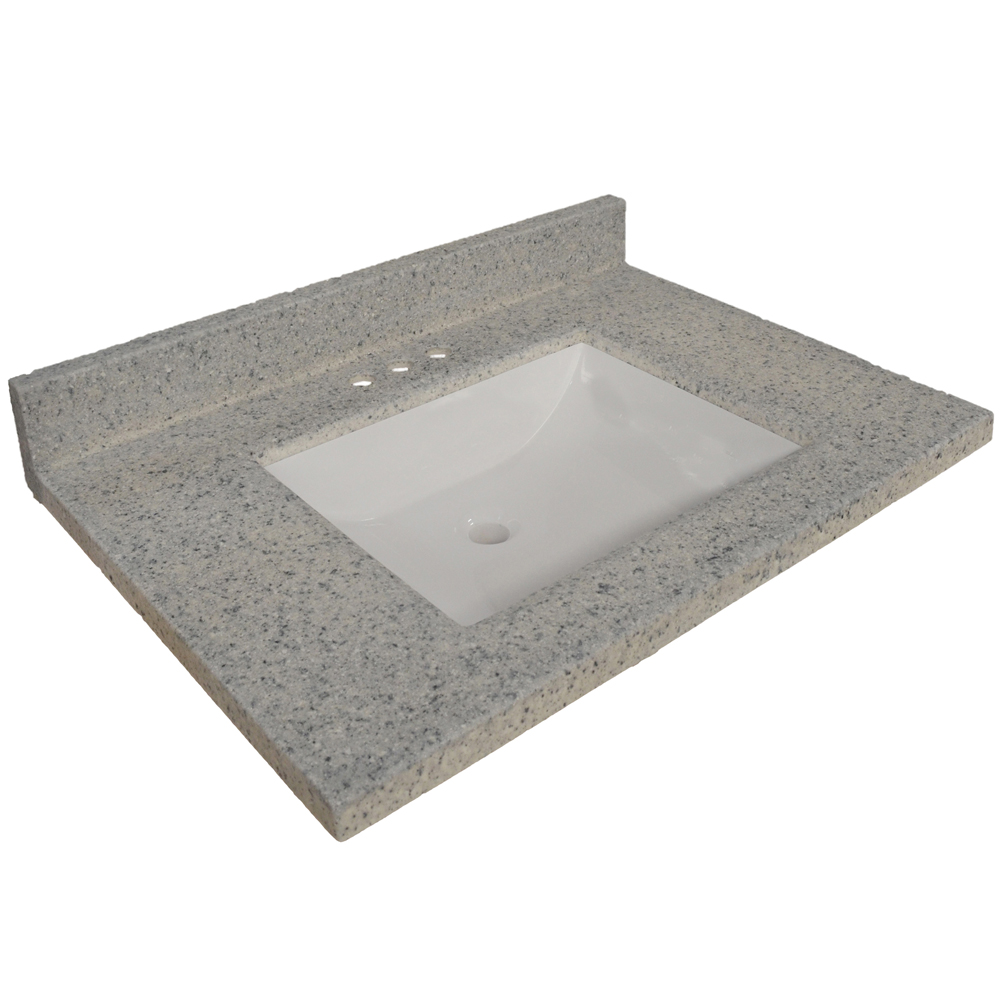 Design House 557553 Wave Bowl Premium Granite Vanity Top, 31-inches by 22-inches, Moonscape Grey