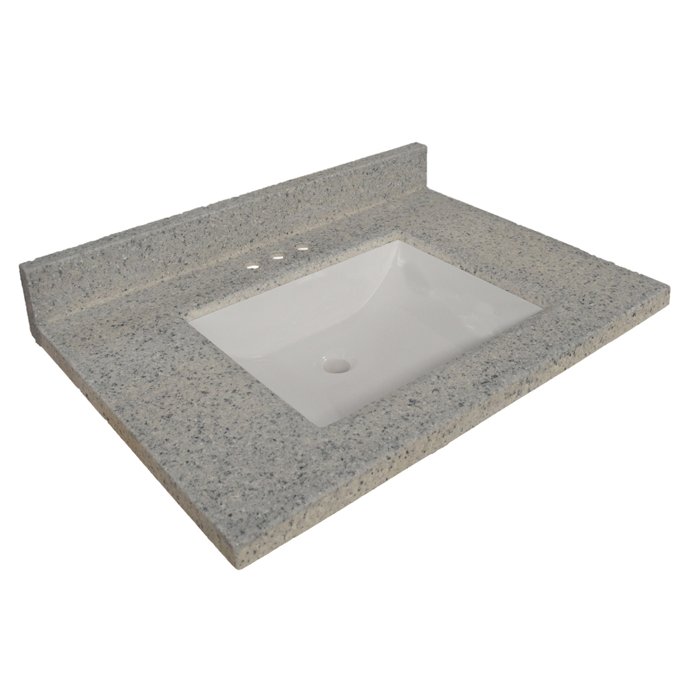 Design House 557561 Wave Bowl Premium Granite Vanity Top with 4-Inch Backsplash, 37-inches by 22-inches, Moonscape Grey