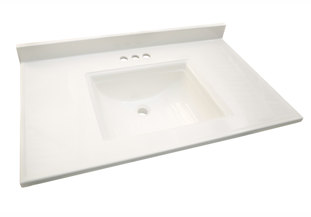 Design House 557637 Camilla Vanity Top with 4-Inch Backsplash, 31-inches by 22-inches, Solid White