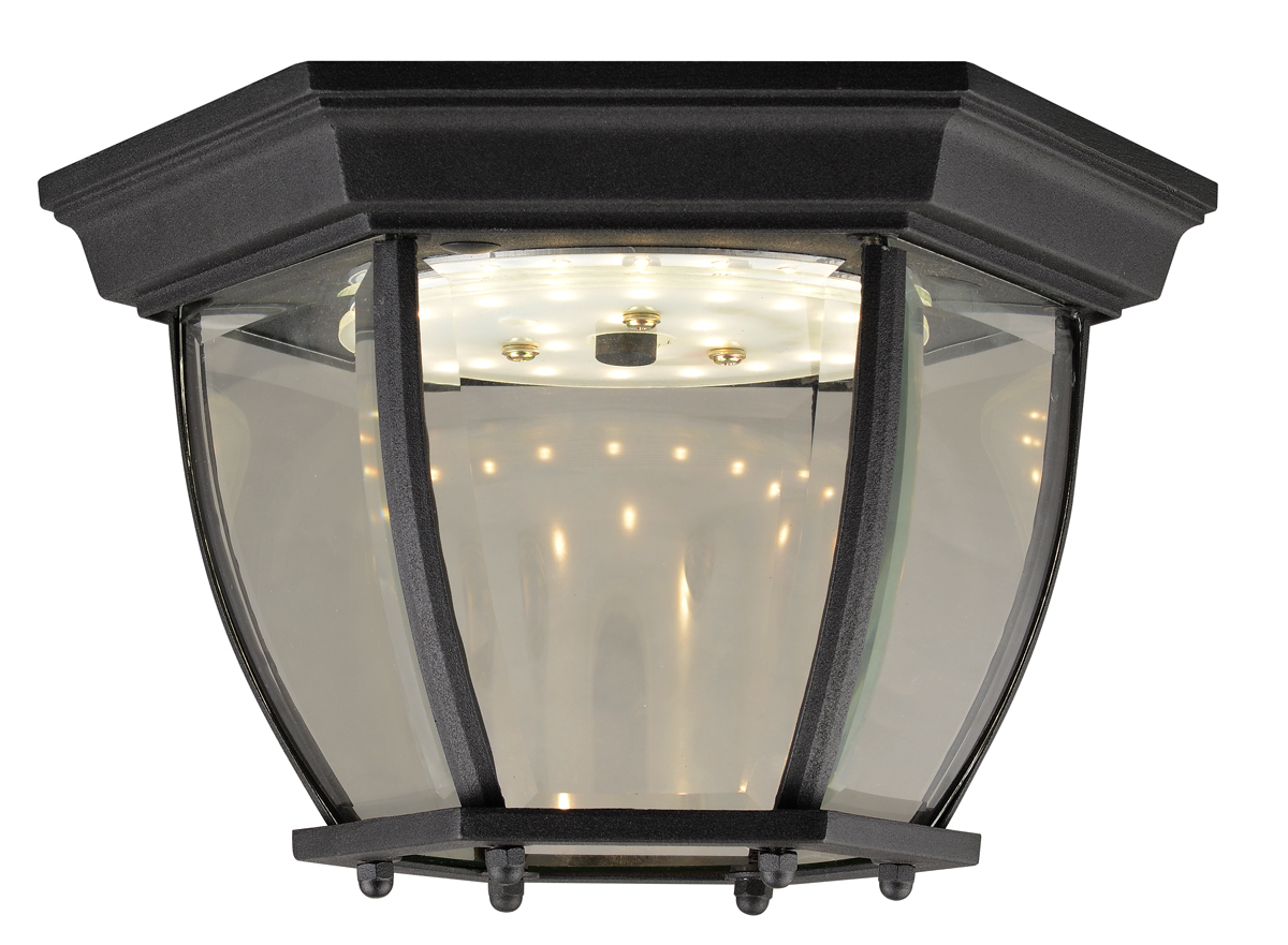 Canterbury II LED Outdoor Ceiling Light, Black