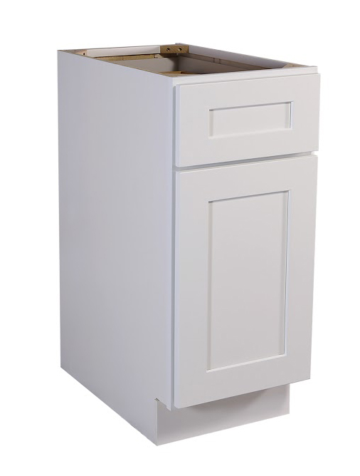 "Brookings 15"" Fully Assembled Kitchen Base Cabinet, White Shaker"