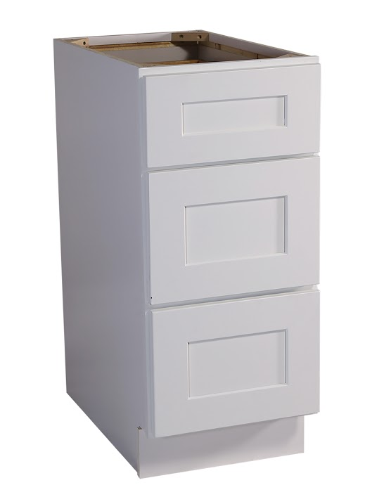 "Brookings 15"" Fully Assembled Kitchen Drawer Base Cabinet, White Shaker"