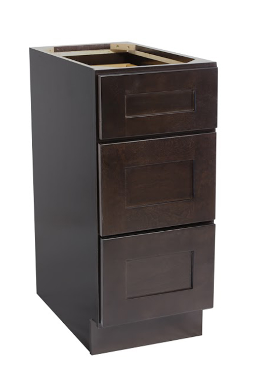 "Brookings 12"" Fully Assembled Kitchen Drawer Base Cabinet, Espresso Shaker"