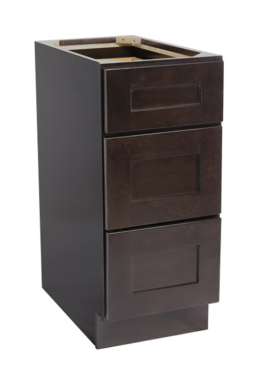 "Brookings 15"" Fully Assembled Kitchen Drawer Base Cabinet, Espresso Shaker"