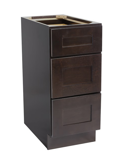 "Brookings 18"" Fully Assembled Kitchen Drawer Base Cabinet, Espresso Shaker"