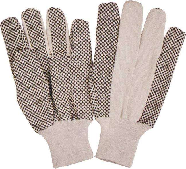 GLOVE COTTON BLACK PVC DOTTED