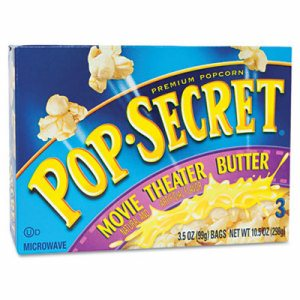 Microwave Popcorn, Movie Theater Butter, 3.5oz Bags, 3/Box