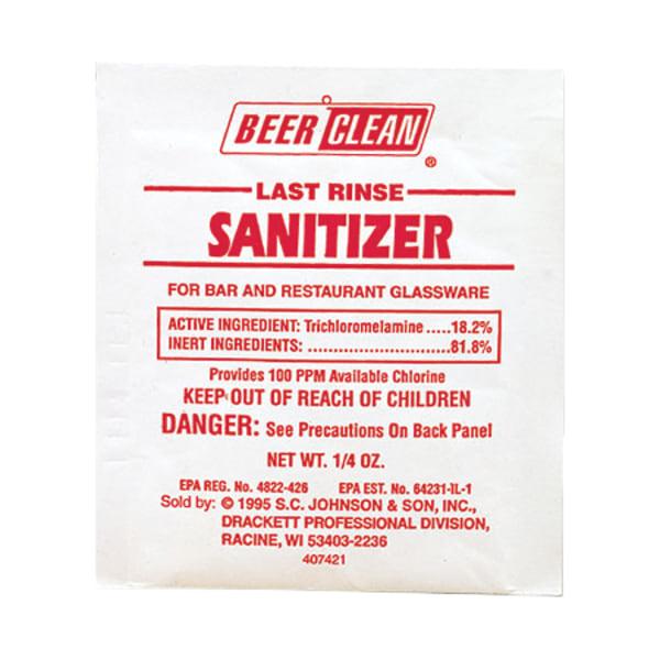 Beer Clean Last Rinse Glass Sanitizer, Powder, .25oz Packet, 100/Carton