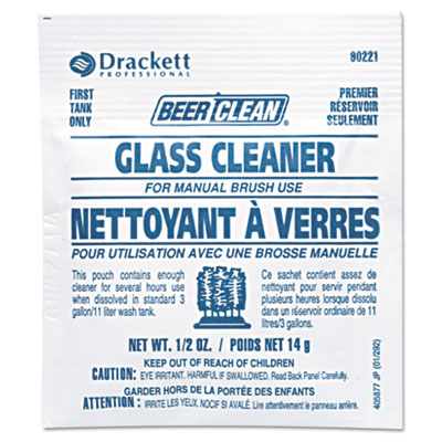 Beer Clean Glass Cleaner, Powder, .5oz Packet, 100/Carton