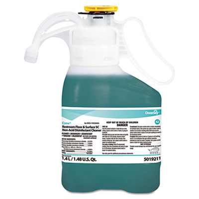 Crew Restroom Floor/Surface Non-Acid Disinfectant Cleaner, 1.4L Bottle, 2/CT