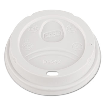 Dome Drink-Thru Lids, Fits 12 oz. & 16 oz. Paper Hot Cups, White, 100/Pack