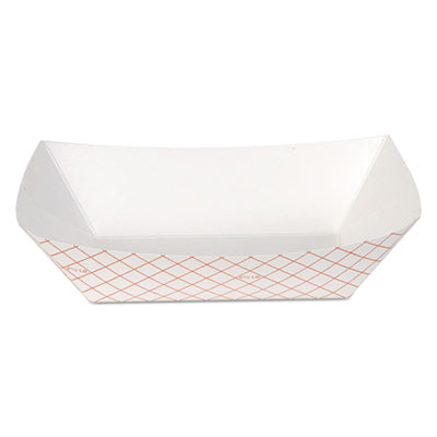 Kant Leek Polycoated Paper Food Tray, 5 1/2X7 3/5x1 4/5, Red Plaid, 250/BG, 2/CT