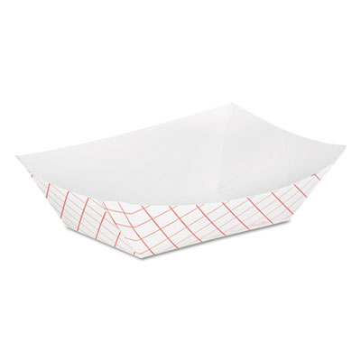 Kant Leek Clay-Coated Paper Food Tray, 3 3/4 x 1 2/5 x 5 3/10, Red Plaid