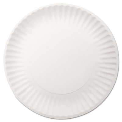 "White Paper Plates, 9"" dia, 250/Pack, 4 Packs/Carton"