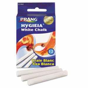 Hygieia Dustless Board Chalk, 3 1/4 x 3/8. White, 12/Box