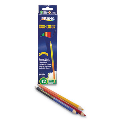 Duo-Color Colored Pencil Sets, 3 mm, 12 Assorted Lead, 6/pack