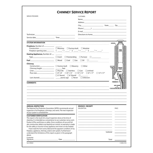 Chimney Service Report (No Check Off Boxes), Pack Of 100 Triplicate Forms