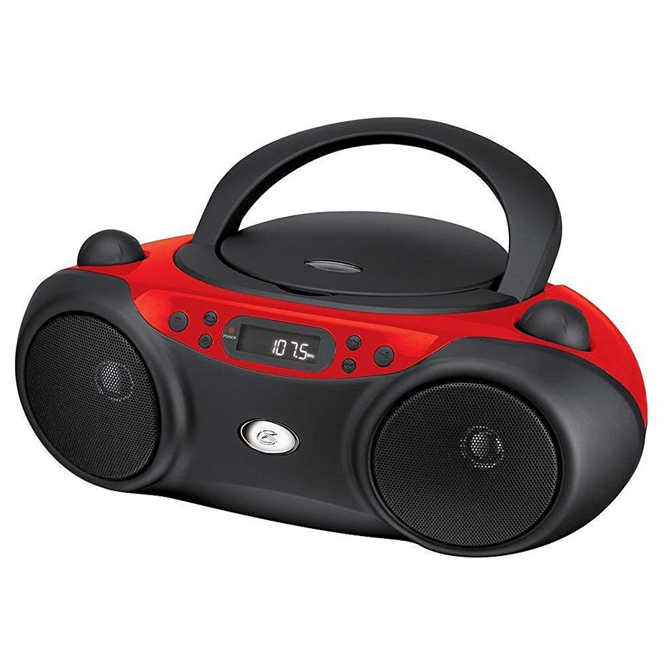 GPX Portable TopLoad CD Boombox AMFM 3.5mm Line In MP3 Device RedBlack