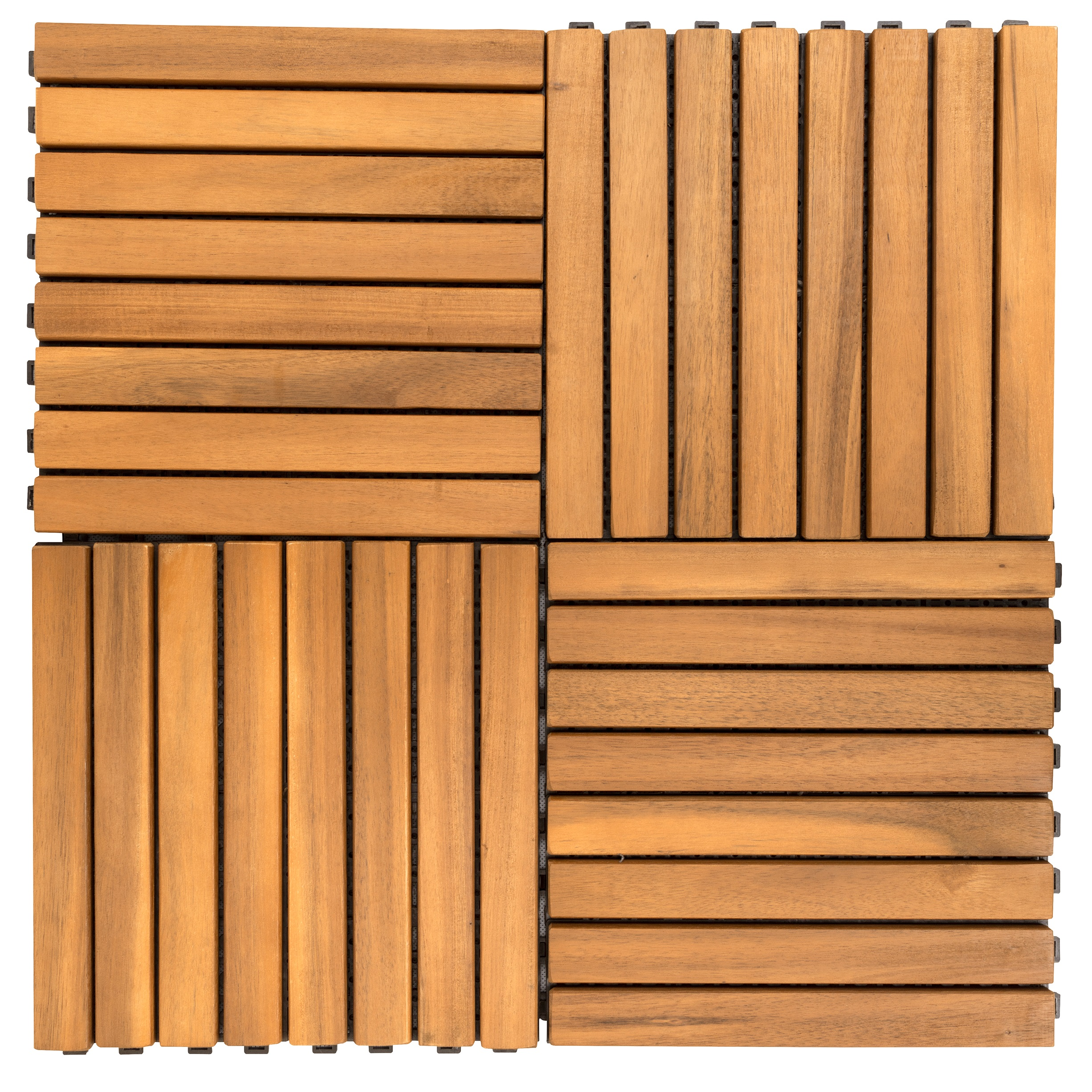 Outdoor Patio 8-Slat Acacia Interlocking Deck Tile (Set of 10 Tiles)