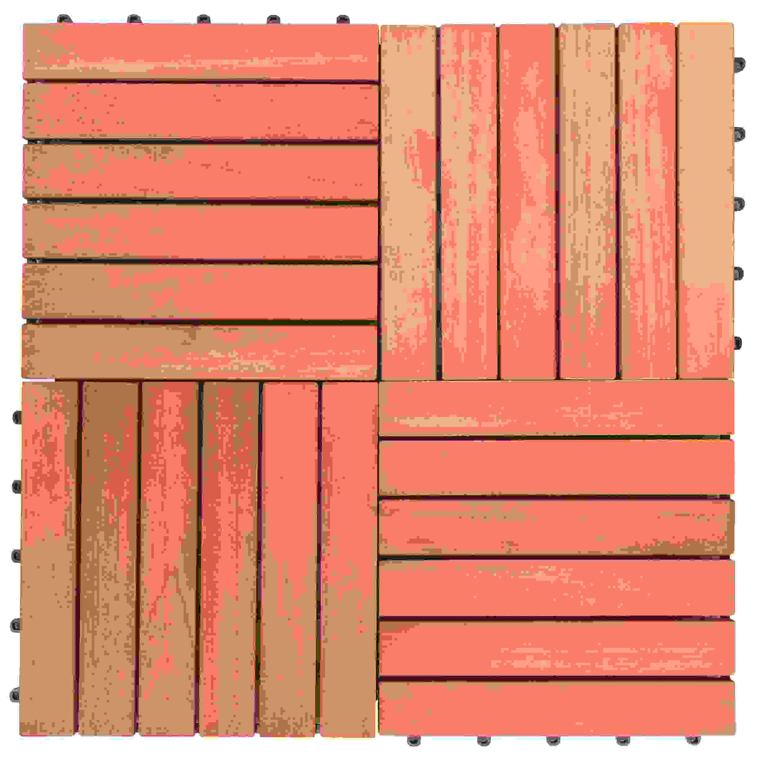 Outdoor Patio 6-Slat Eucalyptus Interlocking Deck Tile (Set of 10 Tiles)