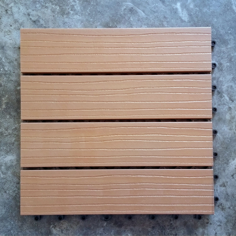 Outdoor-Plastic Composite Interlocking Decking Tile - Cedar (Set of 11 tiles)