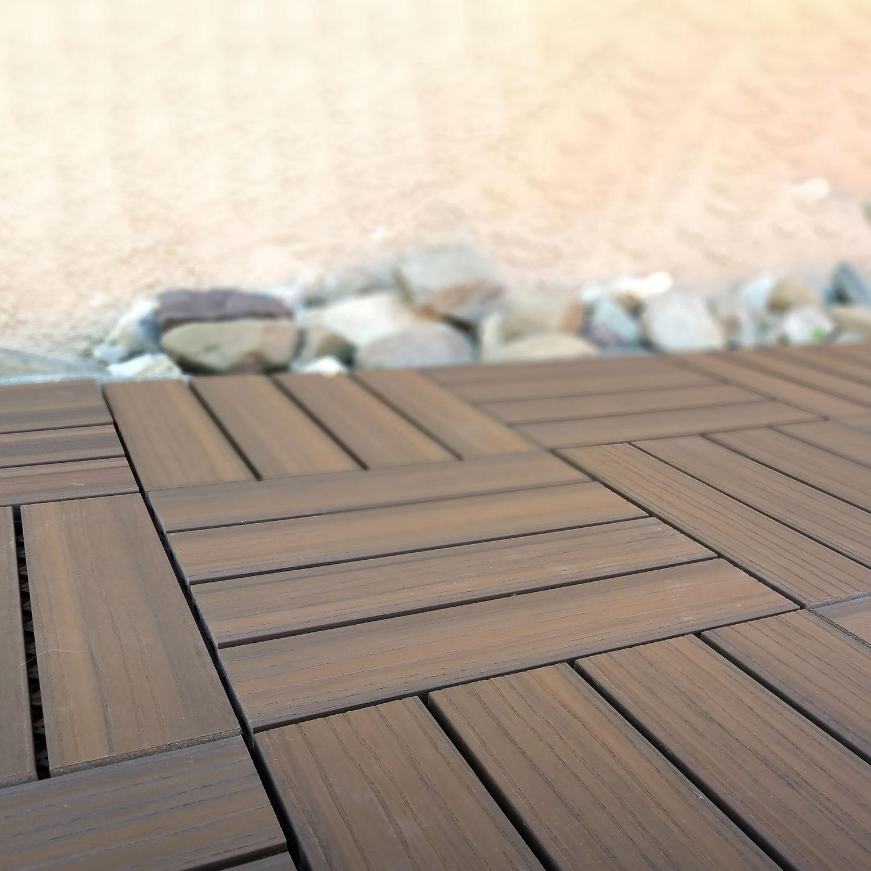Outdoor-Plastic Composite Interlocking Decking Tile - Walnut (Set of 11 tiles)