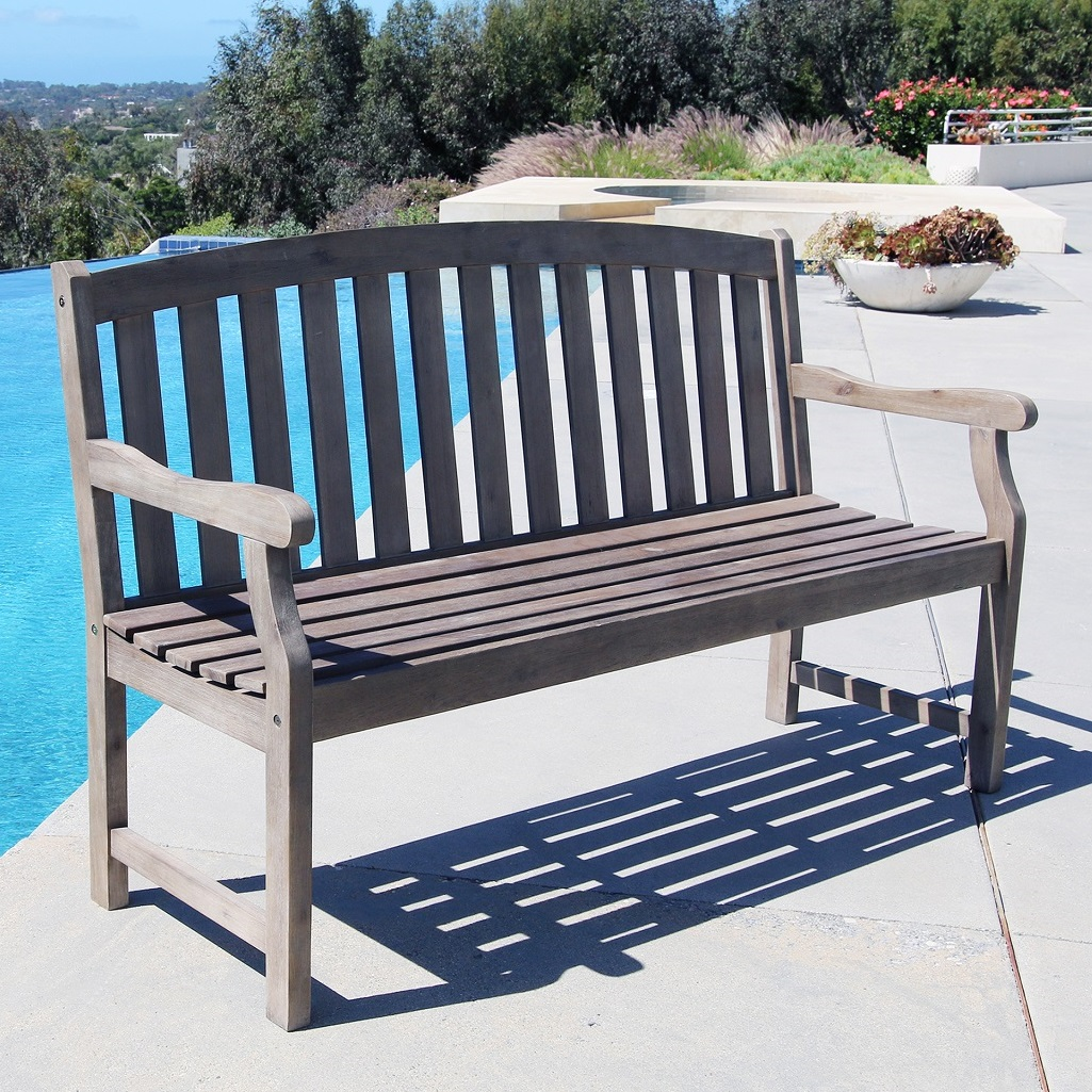 Renaissance Outdoor Patio 5-foot Hand-scraped Wood Garden Bench