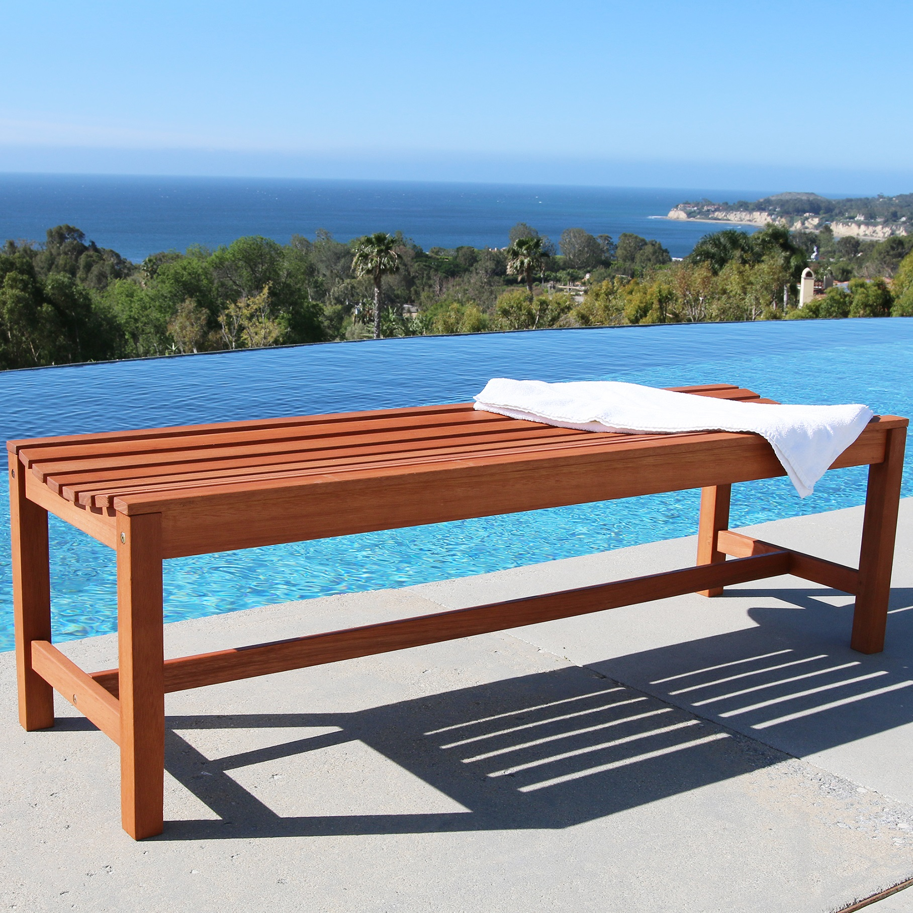 Malibu Outdoor Patio 5-foot Wood Backless Garden Bench