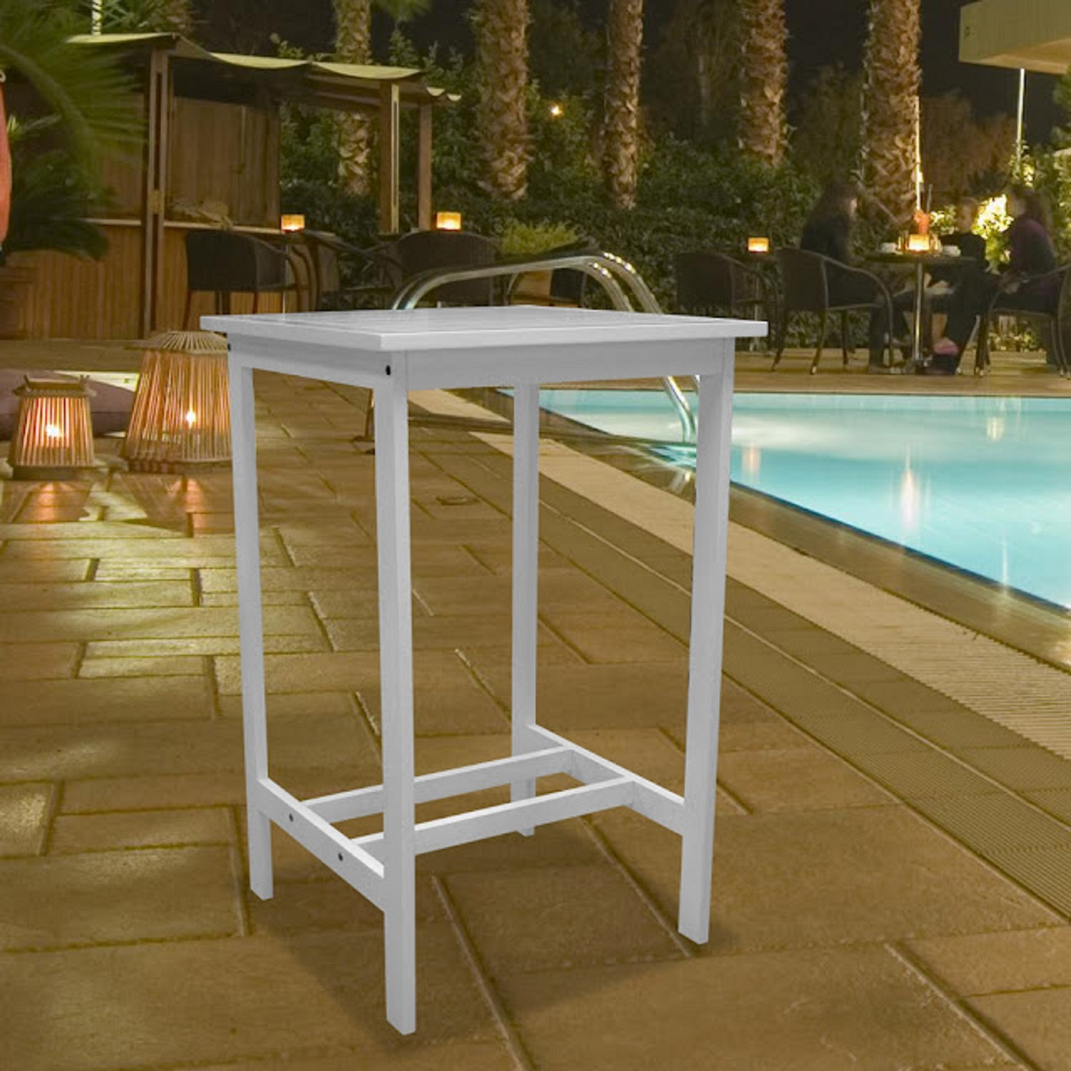Bradley Outdoor Bar Table in White