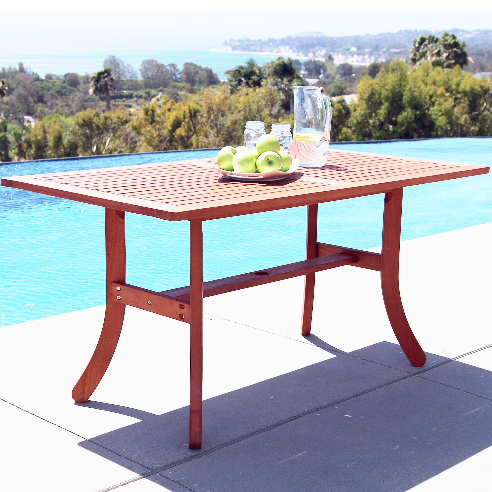 Malibu Outdoor Rectangular Dining Table with Curvy Legs