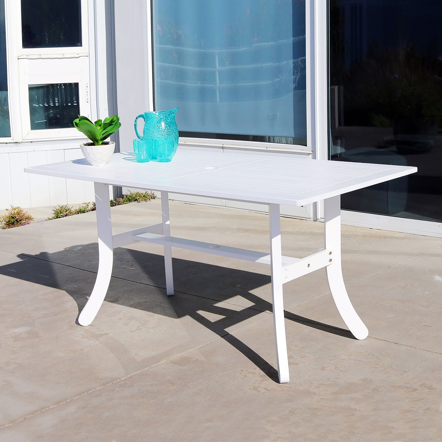 Bradley Outdoor Rectangular Dining Table with Curvy Legs