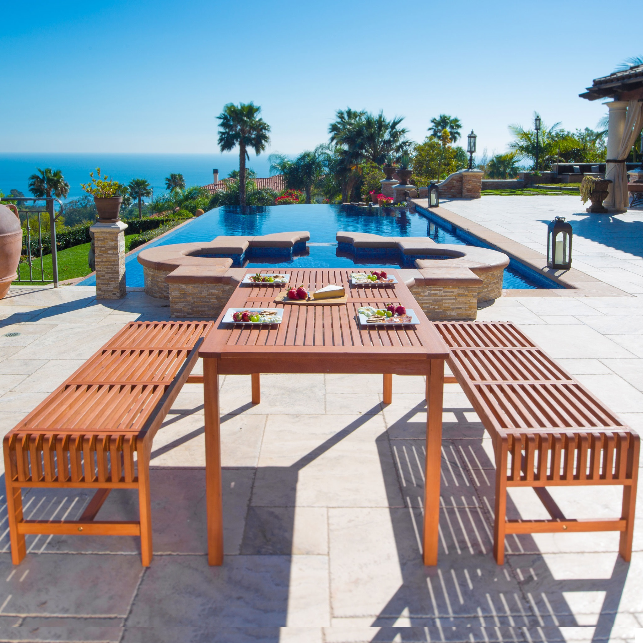 Malibu Outdoor 3-piece Wood Patio Dining Set with Backless Bench