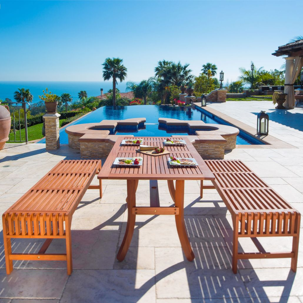 Malibu Outdoor 3-piece Wood Patio Dining Set with Curvy Leg Table & Backless Bench