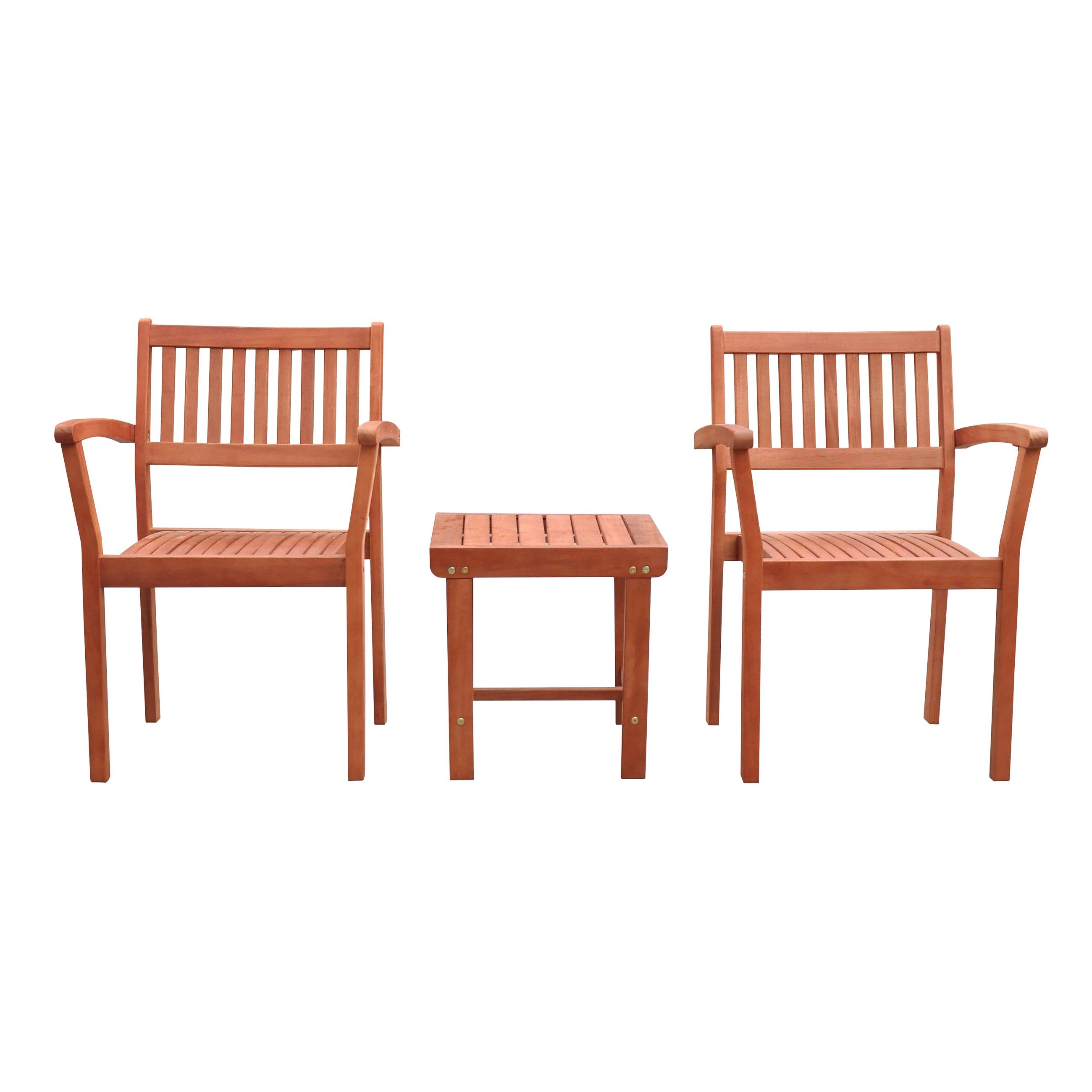 Malibu Outdoor Patio 3-Piece Wood Dining Set with Stacking Chair