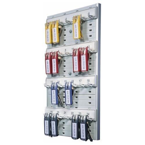 """Key Rack, 24-Tag Capacity, 8 3/8"""" x 1 3/8"""" x 14 1/8"""", Gray Plastic"""