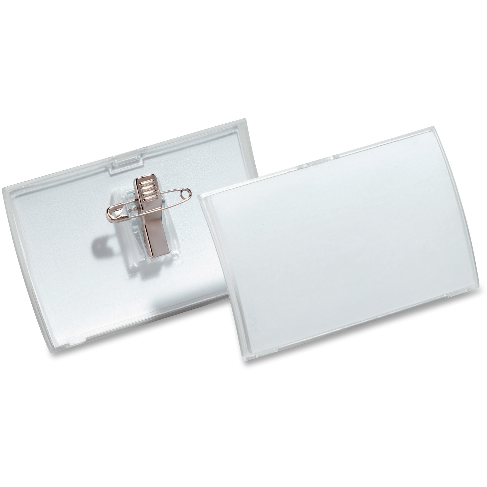 Click-Fold Convex Name Badge Holder, Combi-Clip, 3 3/4w x 2 1/4h, Clear, 25/Pk