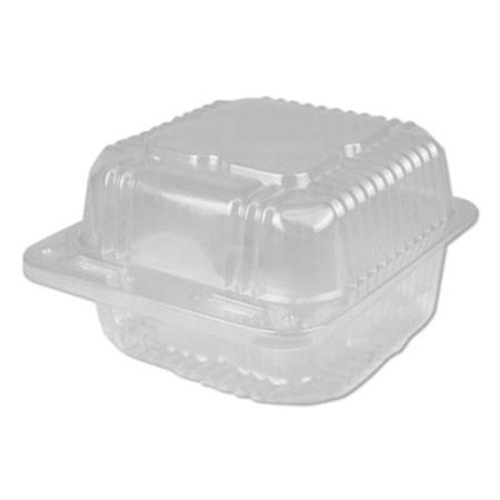 Plastic Clear Hinged Containers, 6 x 6, 21 oz, Clear, 500/Carton