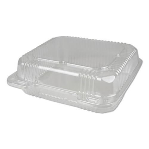 Plastic Clear Hinged Containers, 8 x 8, 50 oz, Clear, 250/Carton