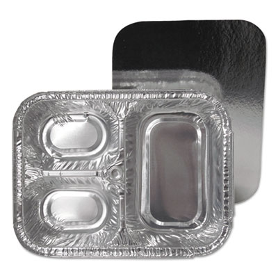 3-Compartment Oblong Aluminum Foil Container with Board Lid, 23 oz, 8.5 x 6.38 x 1.72, 250/Carton