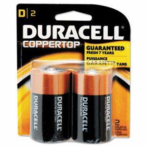 CopperTop Alkaline Batteries with Duralock Power Preserve Technology, D, 2/Pk