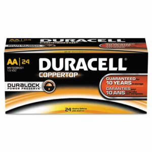 CopperTop Alkaline Batteries with Duralock Power Preserve Technology, AA, 24/Box