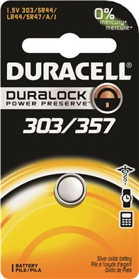 DURACELL COPPERTOP 303/357 SILVER OXIDE WATCH AND ELECTRONICS BATTERY