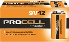DURACELL� PROCELL� ALKALINE BATTERY, 9 VOLTS, 12 PER PACK