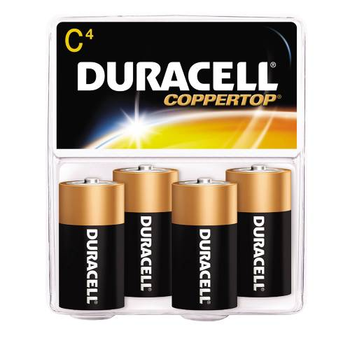 DURACELL COPPERTOP BATTERY C ALKALINE, 4 PACK