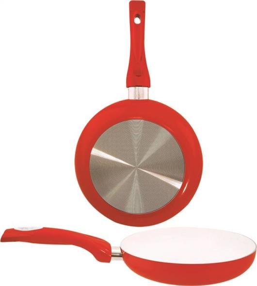 FRY PAN 8IN CERAMIC COATED RED